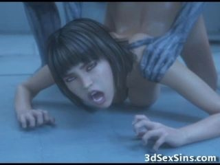 3D Zombie Destroyed All Her Hump Holes!