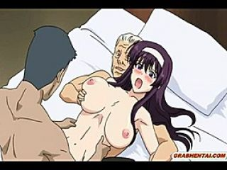 Curvaceous Japanese hentai double penetration and hard gangbang