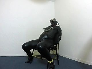 BDSM left alone with gas mask